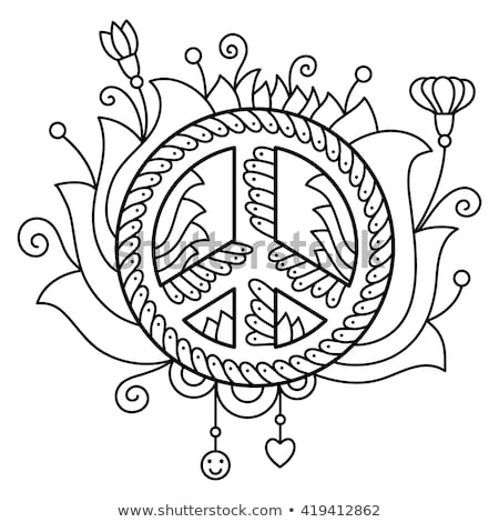 Peace Sign Colorful Drawing Isolated on White Stock photo © robuart