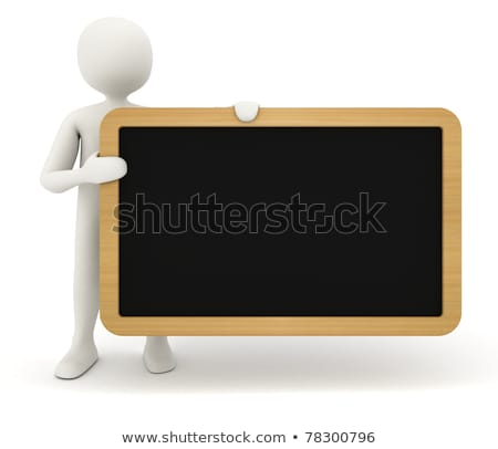 3d man showing blank black table stock photo © icefront