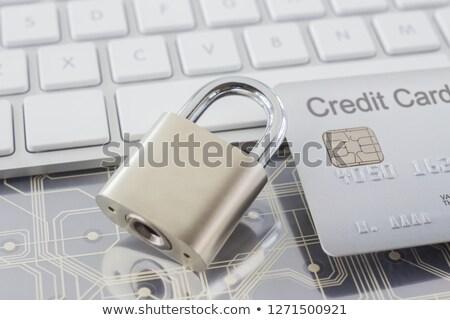 Srebrny karty kredytowej cyfrowe klawiatury selektywne focus Zdjęcia stock © vinnstock