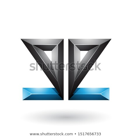 Blue and Black 3d Geometrical Double Sided Embossed Letter E Vec Stock photo © cidepix