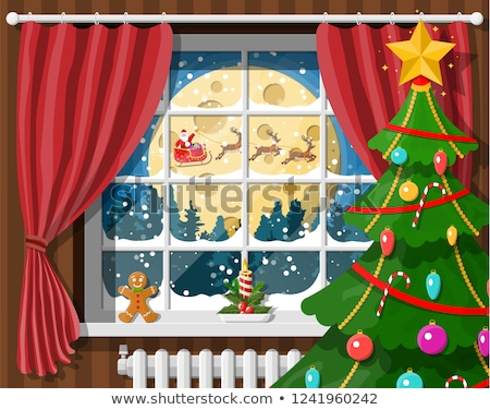 Winter window with red curtains flat illustration. Christmas fla stock photo © IvanDubovik