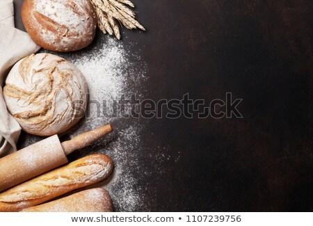 ローフ · 白パン · 木製のテーブル · 表 · パン · 小麦 - ストックフォト © karandaev