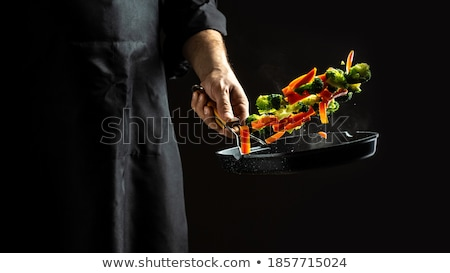 Vegetables on cloud with male cook Stock photo © ra2studio