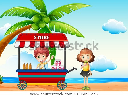Beach scene with boy and girl at food vendor Stock photo © colematt