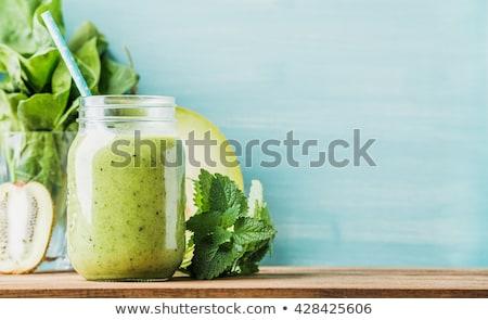 Zöld smoothie zöld friss hozzávalók alma gyümölcs Stock fotó © unikpix