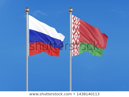 two waving flags of russia and belarus stock photo © mikhailmishchenko