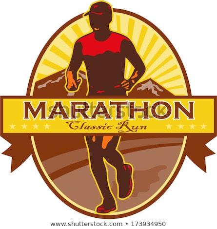 ülke maraton çalıştırmak oval Retro retro tarzı Stok fotoğraf © patrimonio