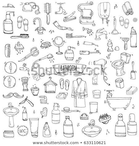 Stock fotó: Fogas · törölköző · kézzel · rajzolt · skicc · firka · ikon