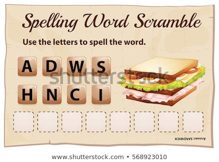 Spelling word scramble game template with word sandwich Stock photo © colematt