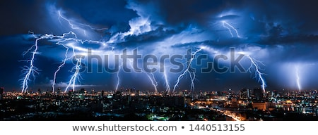 Stad scène onweersbui nacht illustratie gras Stockfoto © colematt