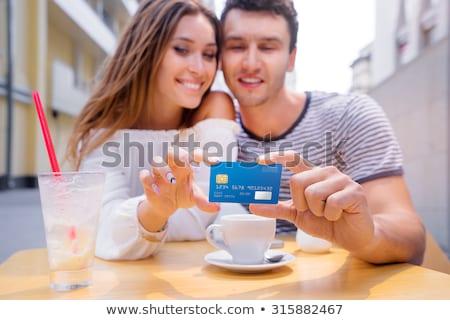 pagamento · café · vista · lateral · mãos · garçonete · eletrônico - foto stock © deandrobot