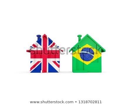Iki evler bayraklar Büyük Britanya Brezilya yalıtılmış Stok fotoğraf © MikhailMishchenko
