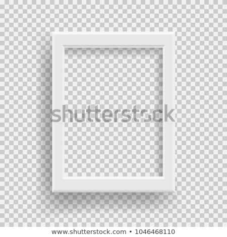 Empty realistic photo frame with transparent shadow on plaid black white background stock photo © Fosin