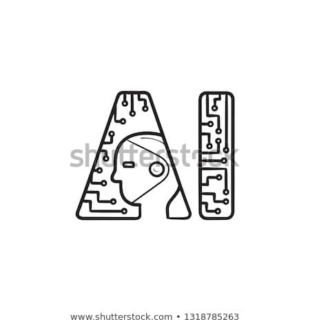 人工知能 · 脳 · 手描き · いたずら書き · アイコン - ストックフォト © RAStudio