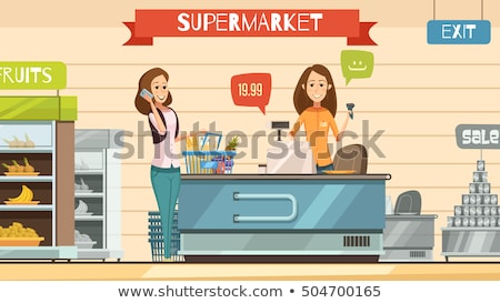 supermarket store cashier and customers vector stock photo © robuart