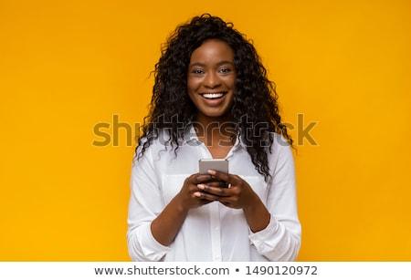 retrato · jovem · belo · preto · adolescente · animado - foto stock © deandrobot