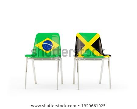 Iki sandalye bayraklar Brezilya Jamaika yalıtılmış Stok fotoğraf © MikhailMishchenko