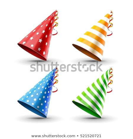 vektor · születésnap · sapkák · konfetti · buli · háttér - stock fotó © pikepicture