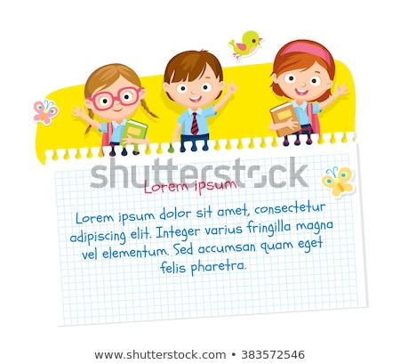 Line paper template with girls reading books Stock photo © colematt