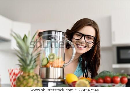 Barátok friss smoothie csoport mosolyog fiatal Stock fotó © Kzenon