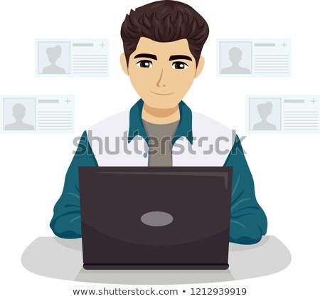 sosyal · ağ · adam · simgeler · wifi · bağlantı · dişliler - stok fotoğraf © lenm