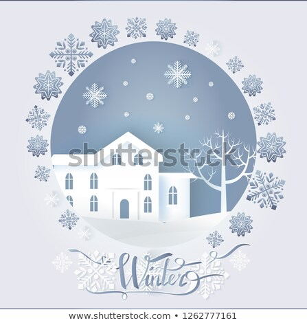 Stock photo: Winter Card with Big Dwelling near Tree Vector