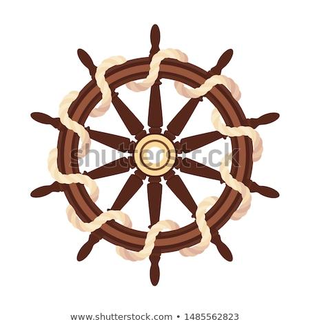 Vector Flat Boat Rope Handwheel Ship Wheel Helm Stock fotó © VetraKori