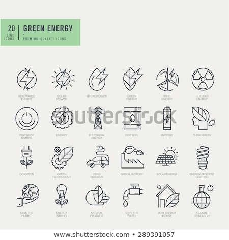 Stock photo: Power and energy icon set. Flat vector illustration