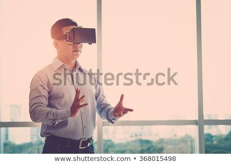 feliz · hombre · virtual · realidad · auricular · oficina - foto stock © dolgachov