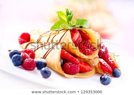 自家製 ブルーベリー チョコレート ソース ミント 食品 ストックフォト © Melnyk