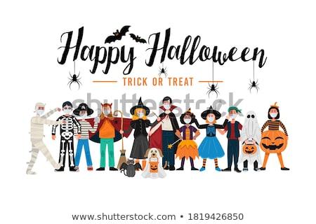 kinderen · halloween · kostuums · huis - stockfoto © grivina