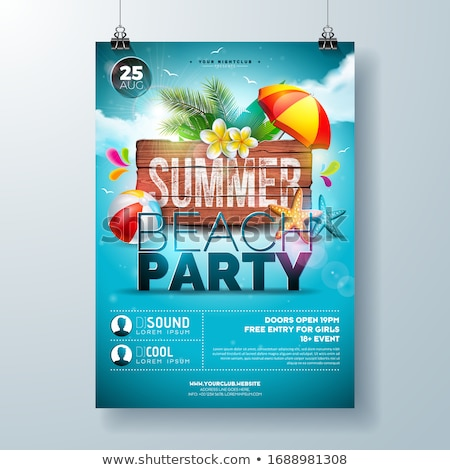 Vector Summer Party Flyer Design with flower, palm trees and sunglasses on ocean blue background. Su Stock photo © articular