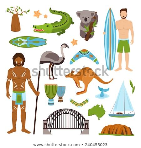 Australia tourism nature and culture icons set Stock photo © netkov1