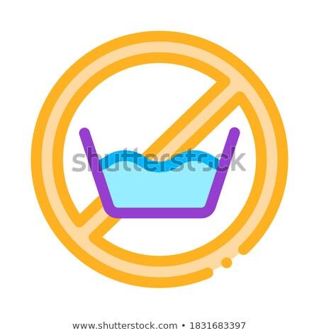 Stock photo: Laundry Service No-presoak Vector Thin Line Icon