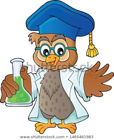Owl teacher with chemical flask theme 1 Stock photo © clairev