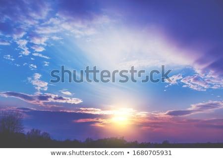 Belo pôr do sol blue sky fofo nuvens Foto stock © vapi