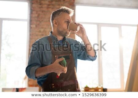 Festő munkaruha iszik forró kávészünet munkahely Stock fotó © pressmaster