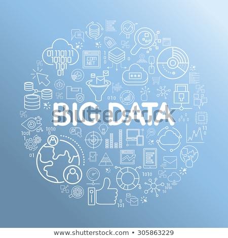 Binair gegevens cirkel icon lang schaduw Stockfoto © Anna_leni