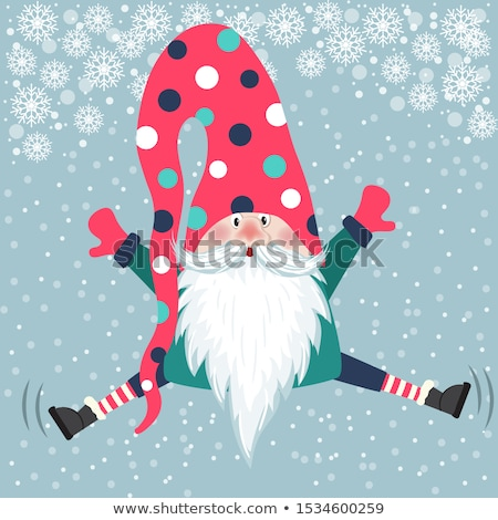 cute gnome jump christmas card flat design stock photo © balasoiu