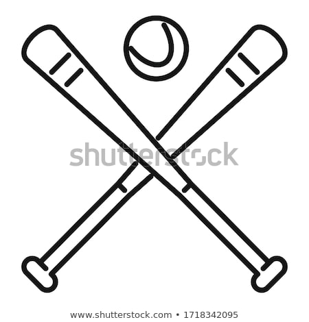 Bats with Ball Icon Vector Outline Illustration stock photo © pikepicture