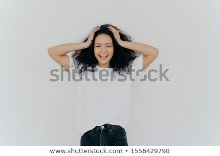 Fotoğraf kadın mutlulukla eğlence beyaz Stok fotoğraf © vkstudio