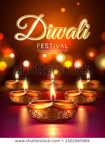 счастливым Дивали плакат дизайна свечу свет Сток-фото © bluering