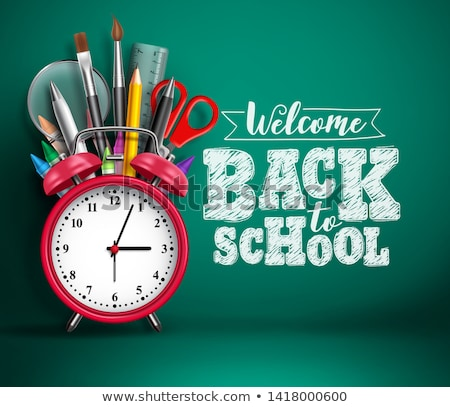 Back to school design with red alarm clock and typography on dark chalkboard background. Vector educ Stock photo © articular