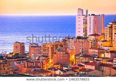 Stock photo: Monte Carlo yachting harbor and colorful waterfront golden dawn