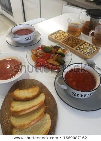 Ukrainian borscht with toast and meat on garnish Stock photo © ElenaBatkova