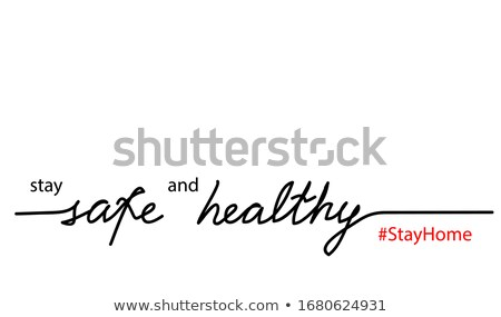 Stay home message. Continuous line lettering drawing. Covid-19 Coronavirus concept. Vector illustrat Stock photo © ESSL