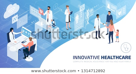 Online Doctor and Medical Diagnostics Isometric Stock photo © -TAlex-