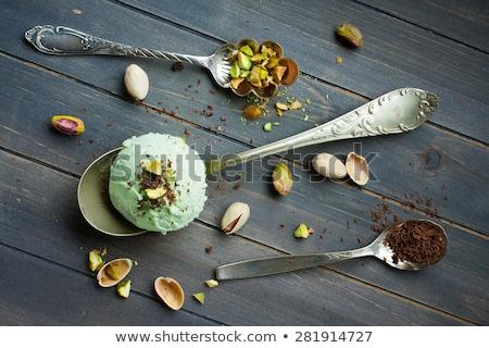Colher picado sorvete caseiro rústico Foto stock © Melnyk