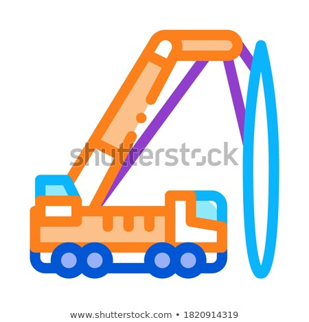 truck mounted crane icon vector outline illustration Stock photo © pikepicture