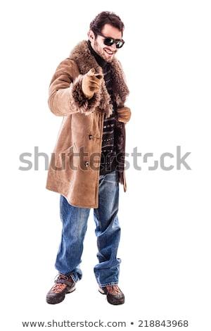 Moço peludo casaco em pé engraçado Foto stock © feedough